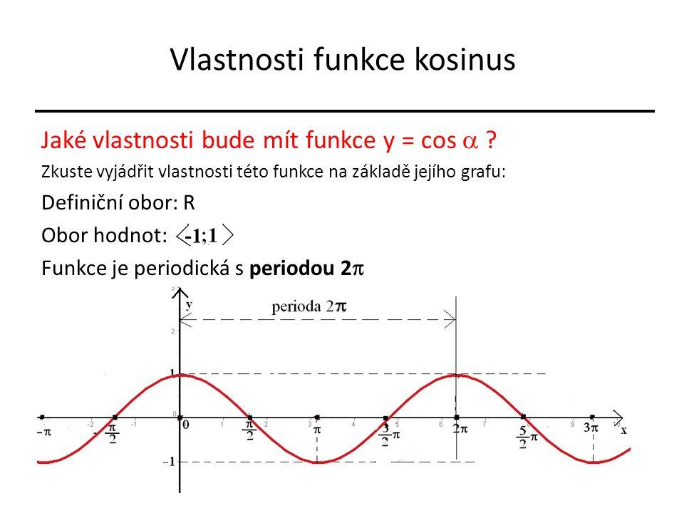 Vlastnosti funkce kosinus Jaké vlastnosti bude mít funkce y = cos  .