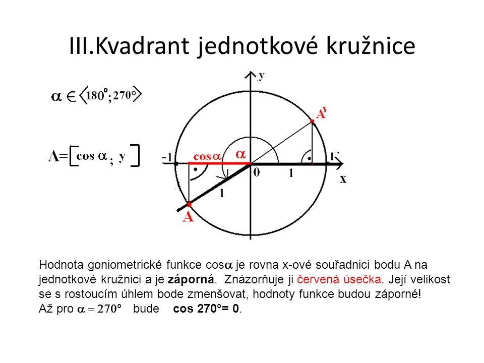 III.Kvadrant jednotkové kružnice Hodnota goniometrické funkce cos  je rovna x-ové souřadnici bodu A na jednotkové kružnici a je záporná.