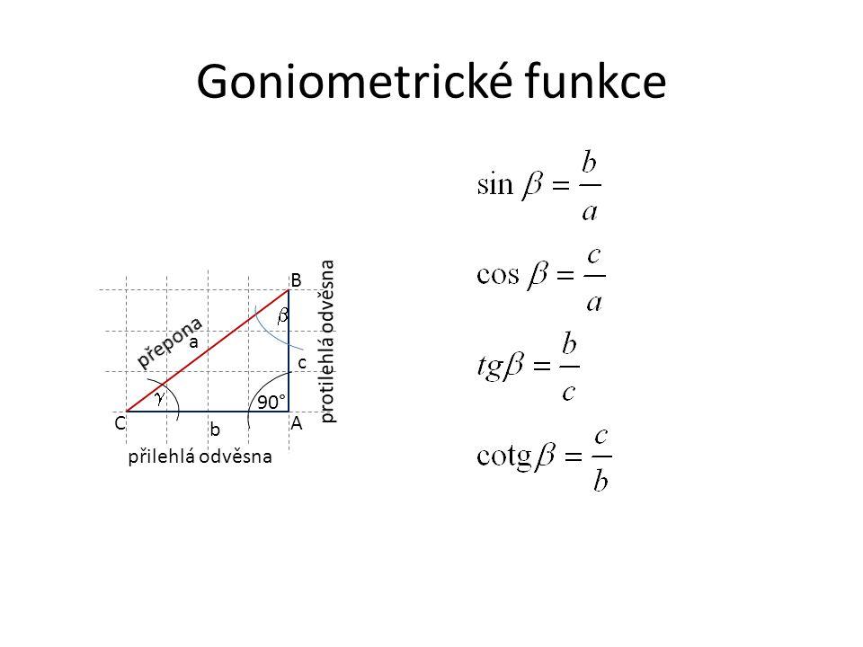 Goniometrické funkce A B C a c b 90°  přilehlá odvěsna 