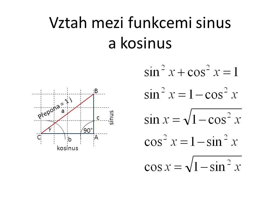 Vztah mezi funkcemi sinus a kosinus A B C a c b 90°  kosinus