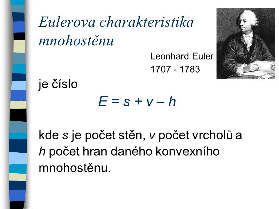 Eulerova charakteristika mnohostěnu Leonhard Euler 1707 - 1783 je číslo E = s + v – h kde s je počet stěn, v počet vrcholů a h počet hran daného konvexního mnohostěnu.