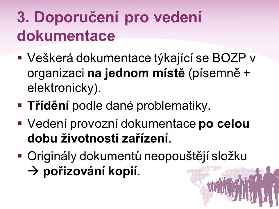 3. Doporučení pro vedení dokumentace  Veškerá dokumentace týkající se BOZP v organizaci na jednom místě (písemně + elektronicky).  Třídění podle dan