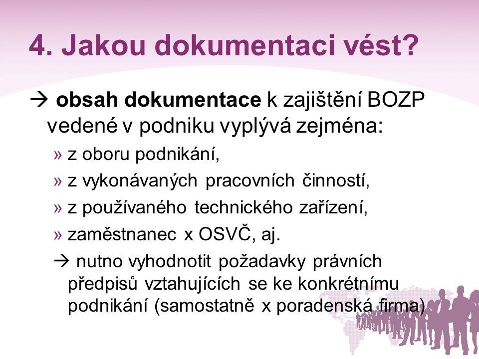 4. Jakou dokumentaci vést?  obsah dokumentace k zajištění BOZP vedené v podniku vyplývá zejména: »z oboru podnikání, »z vykonávaných pracovních činno