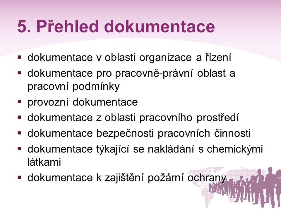 5. Přehled dokumentace  dokumentace v oblasti organizace a řízení  dokumentace pro pracovně-právní oblast a pracovní podmínky  provozní dokumentace