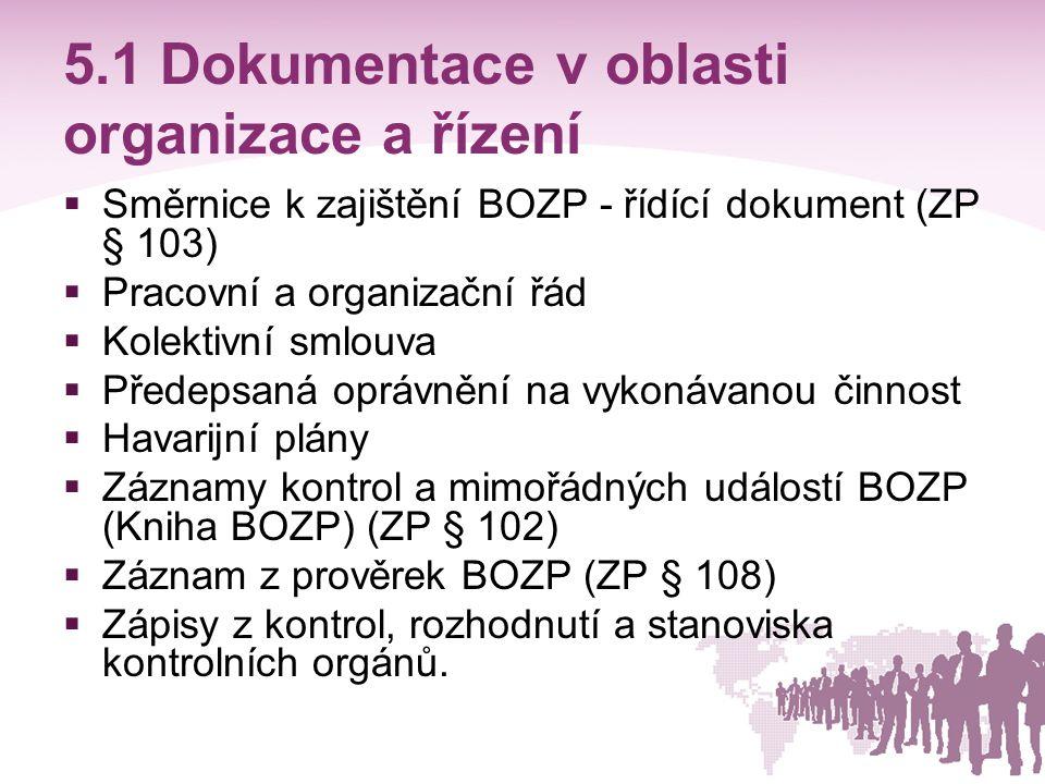 5.1 Dokumentace v oblasti organizace a řízení  Směrnice k zajištění BOZP - řídící dokument (ZP § 103)  Pracovní a organizační řád  Kolektivní smlou