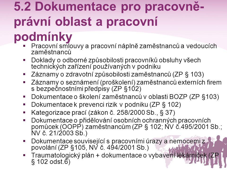 5.2 Dokumentace pro pracovně- právní oblast a pracovní podmínky  Pracovní smlouvy a pracovní náplně zaměstnanců a vedoucích zaměstnanců  Doklady o o