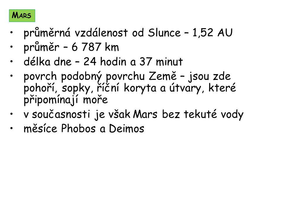 průměrná vzdálenost od Slunce – 1,52 AU průměr – 6 787 km délka dne – 24 hodin a 37 minut povrch podobný povrchu Země – jsou zde pohoří, sopky, říční koryta a útvary, které připomínají moře v současnosti je však Mars bez tekuté vody měsíce Phobos a Deimos M ARS
