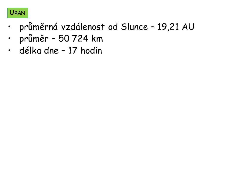 průměrná vzdálenost od Slunce – 19,21 AU průměr – 50 724 km délka dne – 17 hodin U RAN