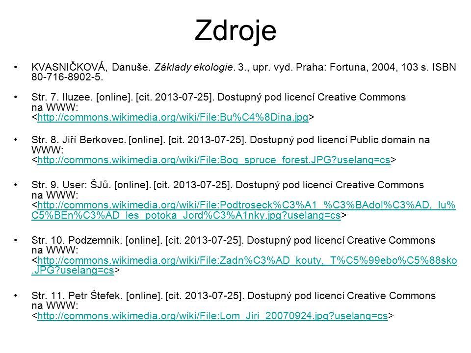 Zdroje KVASNIČKOVÁ, Danuše. Základy ekologie. 3., upr. vyd. Praha: Fortuna, 2004, 103 s. ISBN 80-716-8902-5. Str. 7. Iluzee. [online]. [cit. 2013-07-2