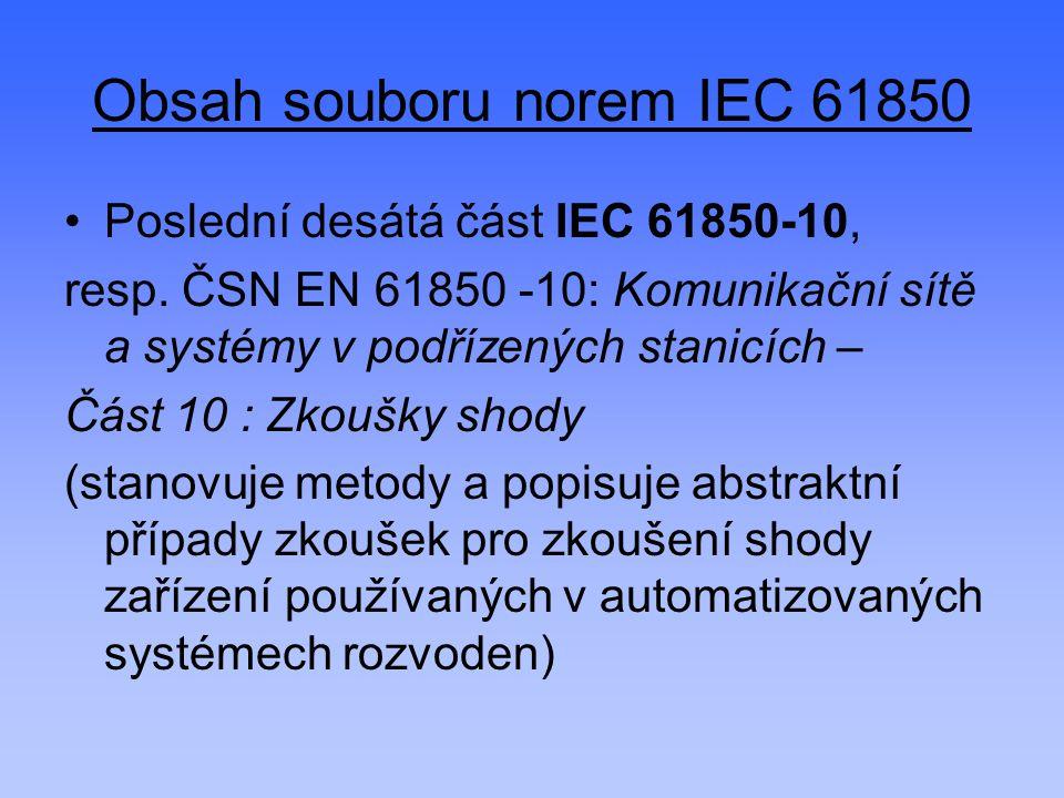 Obsah souboru norem IEC 61850 Poslední desátá část IEC 61850-10, resp. ČSN EN 61850 -10: Komunikační sítě a systémy v podřízených stanicích – Část 10
