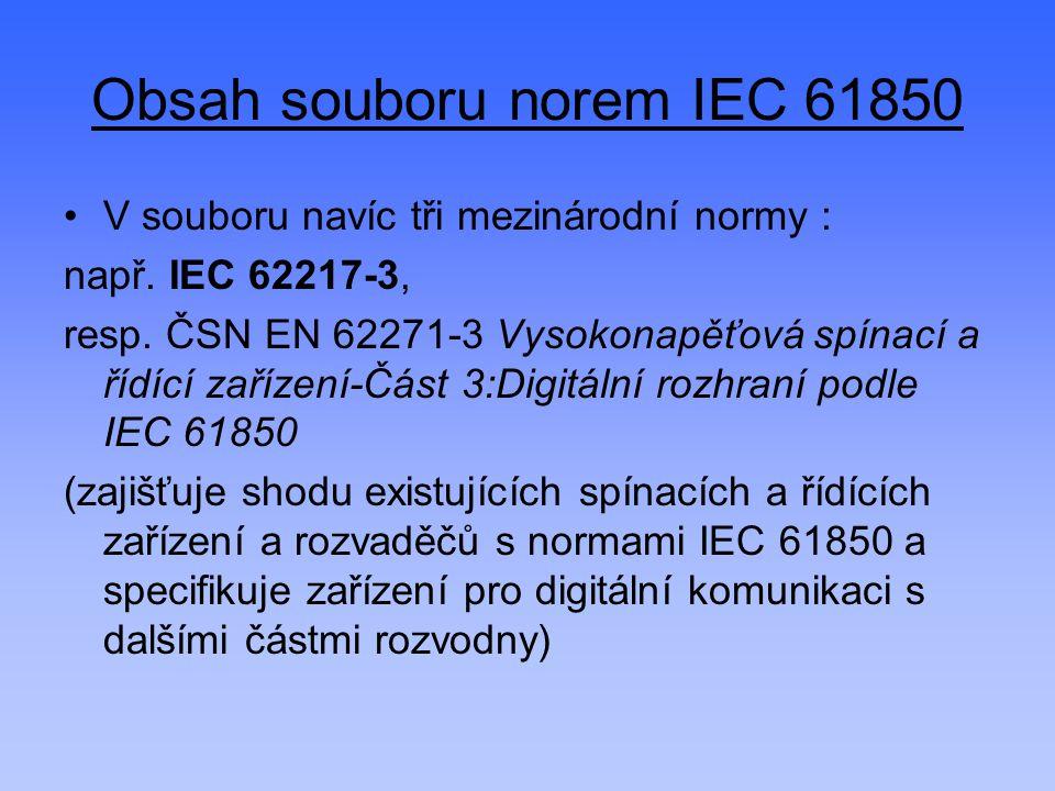 Obsah souboru norem IEC 61850 V souboru navíc tři mezinárodní normy : např. IEC 62217-3, resp. ČSN EN 62271-3 Vysokonapěťová spínací a řídící zařízení