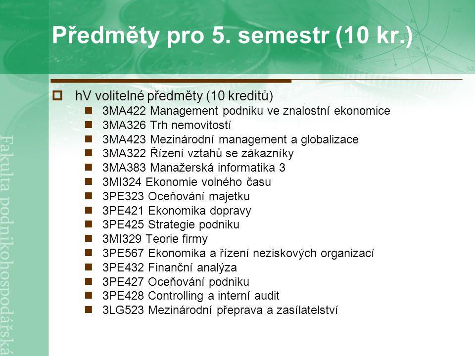 Předměty pro 5. semestr (10 kr.)  hV volitelné předměty (10 kreditů) 3MA422 Management podniku ve znalostní ekonomice 3MA326 Trh nemovitostí 3MA423 M