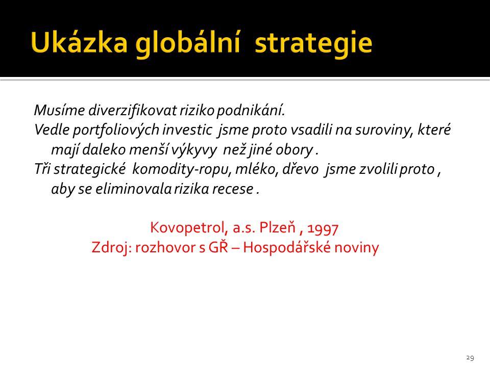 29 Musíme diverzifikovat riziko podnikání.