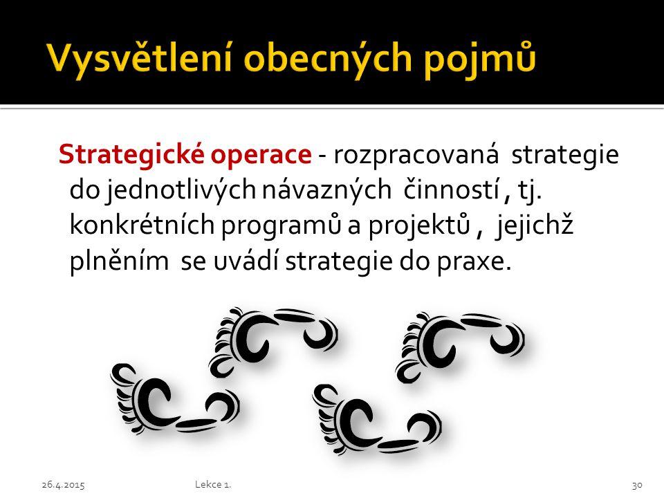 Strategické operace - rozpracovaná strategie do jednotlivých návazných činností, tj. konkrétních programů a projektů, jejichž plněním se uvádí strateg