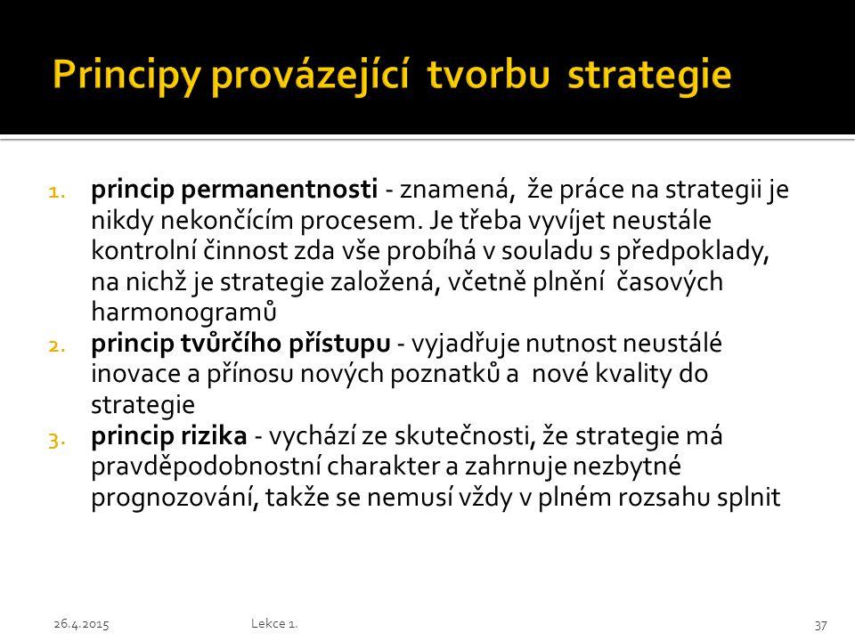 1. princip permanentnosti - znamená, že práce na strategii je nikdy nekončícím procesem. Je třeba vyvíjet neustále kontrolní činnost zda vše probíhá v