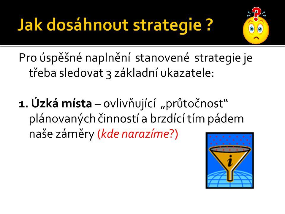 """Pro úspěšné naplnění stanovené strategie je třeba sledovat 3 základní ukazatele: 1. Úzká místa – ovlivňující """"průtočnost"""" plánovaných činností a brzdí"""