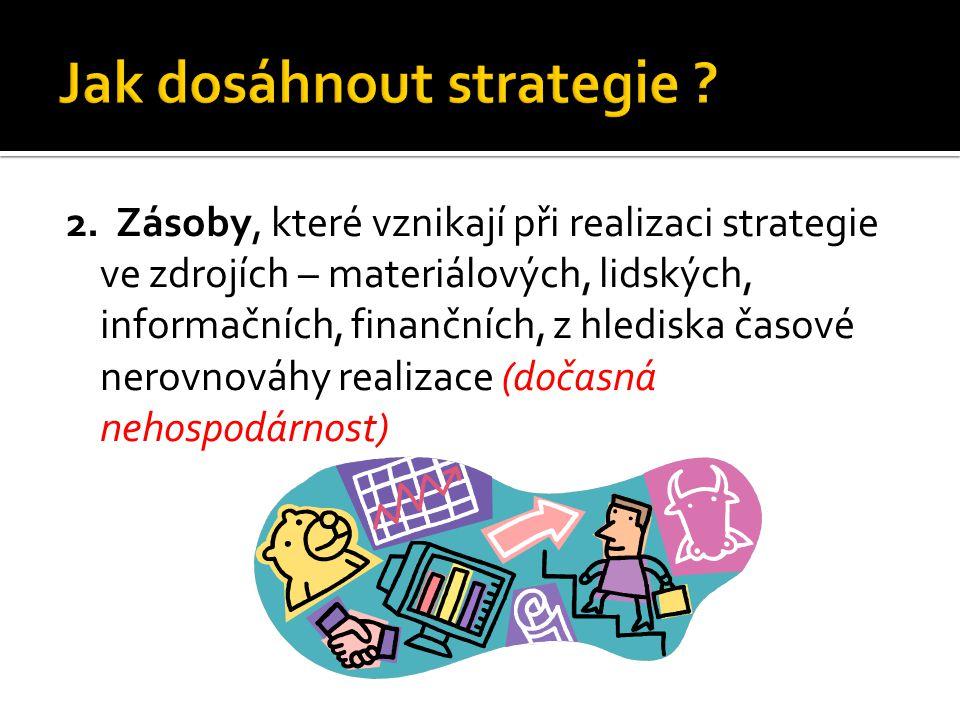 2. Zásoby, které vznikají při realizaci strategie ve zdrojích – materiálových, lidských, informačních, finančních, z hlediska časové nerovnováhy reali