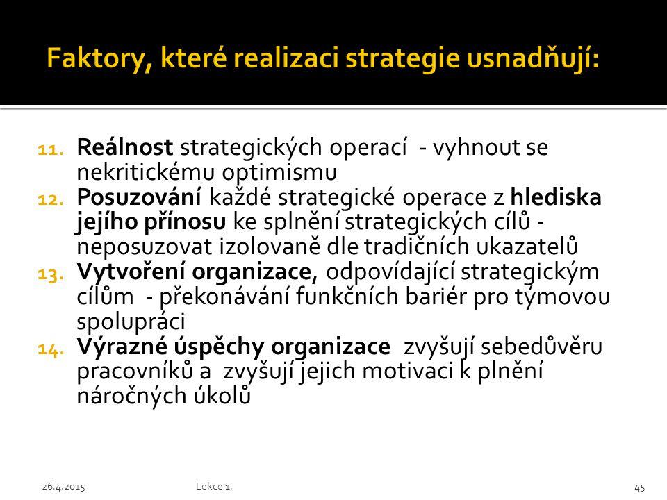 11. Reálnost strategických operací - vyhnout se nekritickému optimismu 12. Posuzování každé strategické operace z hlediska jejího přínosu ke splnění s