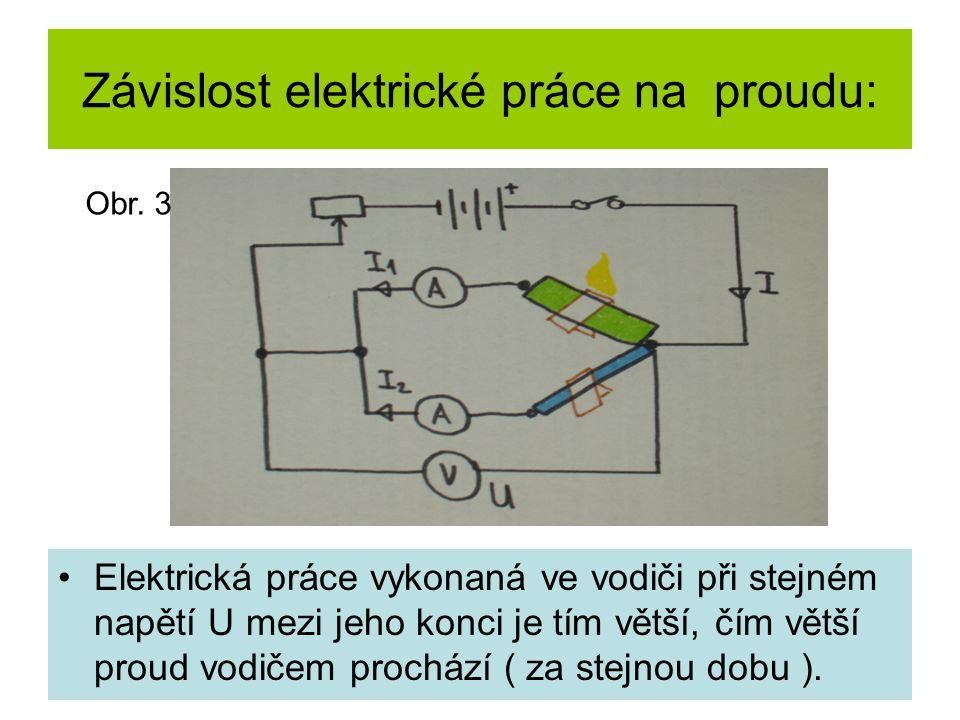 Závislost elektrické práce na proudu: Elektrická práce vykonaná ve vodiči při stejném napětí U mezi jeho konci je tím větší, čím větší proud vodičem prochází ( za stejnou dobu ).