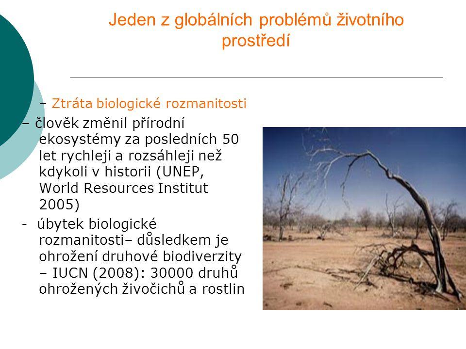 Jeden z globálních problémů životního prostředí  – Ztráta biologické rozmanitosti – člověk změnil přírodní ekosystémy za posledních 50 let rychleji a rozsáhleji než kdykoli v historii (UNEP, World Resources Institut 2005) - úbytek biologické rozmanitosti– důsledkem je ohrožení druhové biodiverzity – IUCN (2008): 30000 druhů ohrožených živočichů a rostlin