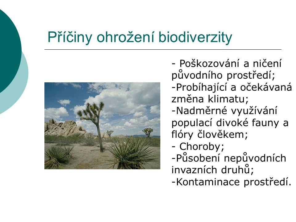 Příčiny ohrožení biodiverzity - Poškozování a ničení původního prostředí; -Probíhající a očekávaná změna klimatu; -Nadměrné využívání populací divoké fauny a flóry člověkem; - Choroby; -Působení nepůvodních invazních druhů; -Kontaminace prostředí.