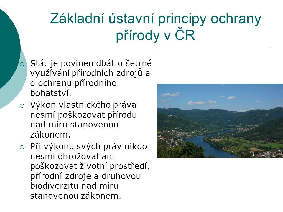 Základní ústavní principy ochrany přírody v ČR  Stát je povinen dbát o šetrné využívání přírodních zdrojů a o ochranu přírodního bohatství.