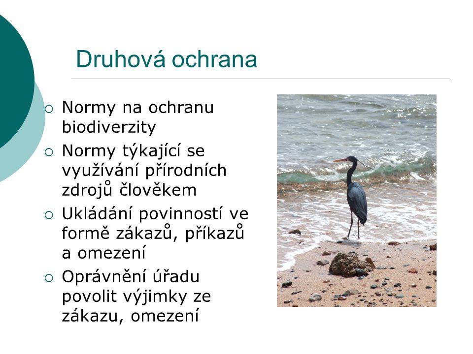Druhová ochrana  Normy na ochranu biodiverzity  Normy týkající se využívání přírodních zdrojů člověkem  Ukládání povinností ve formě zákazů, příkazů a omezení  Oprávnění úřadu povolit výjimky ze zákazu, omezení