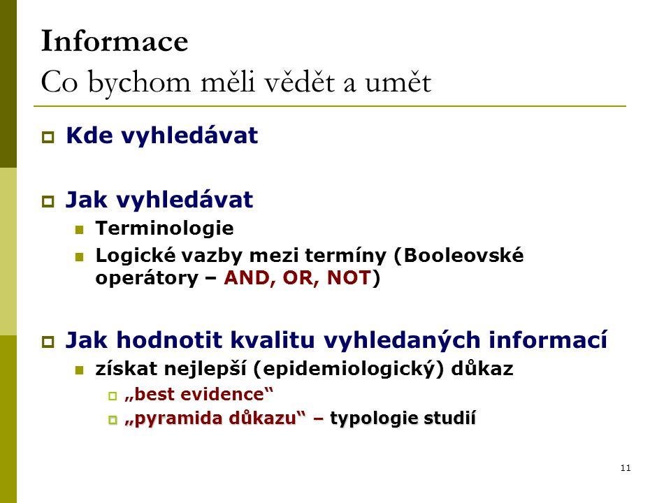 """11 Informace Co bychom měli vědět a umět  Kde vyhledávat  Jak vyhledávat Terminologie Logické vazby mezi termíny (Booleovské operátory – AND, OR, NOT)  Jak hodnotit kvalitu vyhledaných informací získat nejlepší (epidemiologický) důkaz  """"best evidence  """"pyramida důkazu – typologie studií"""