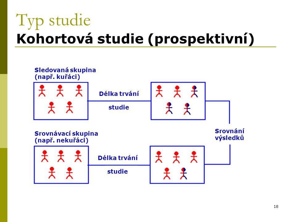 18 Typ studie Kohortová studie (prospektivní) Sledovaná skupina (např.