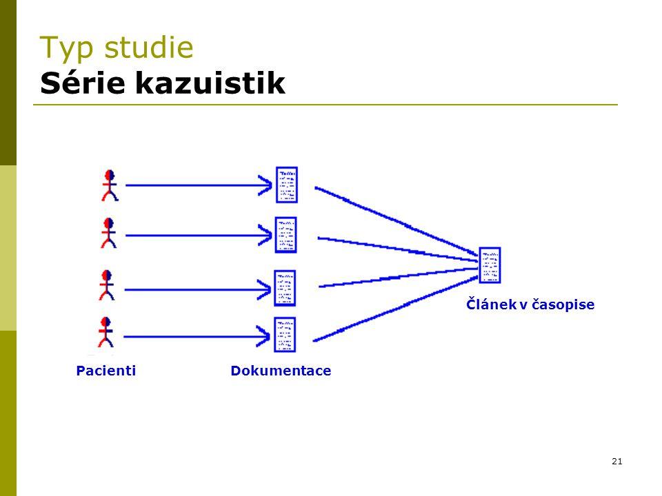 21 Typ studie Série kazuistik Pacienti Dokumentace Článek v časopise