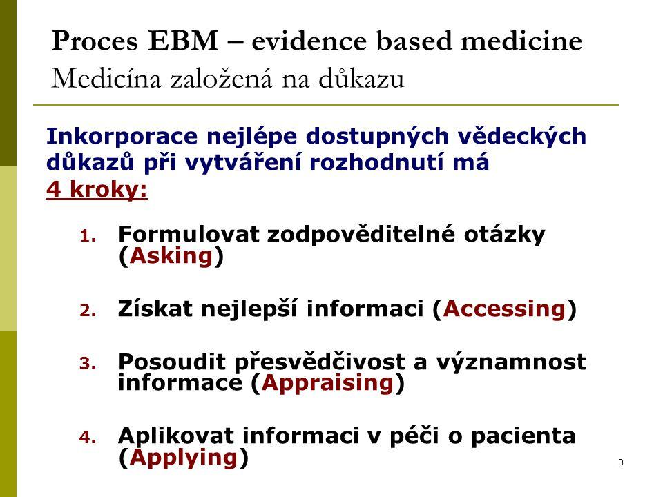 3 Proces EBM – evidence based medicine Medicína založená na důkazu Inkorporace nejlépe dostupných vědeckých důkazů při vytváření rozhodnutí má 4 kroky: 1.