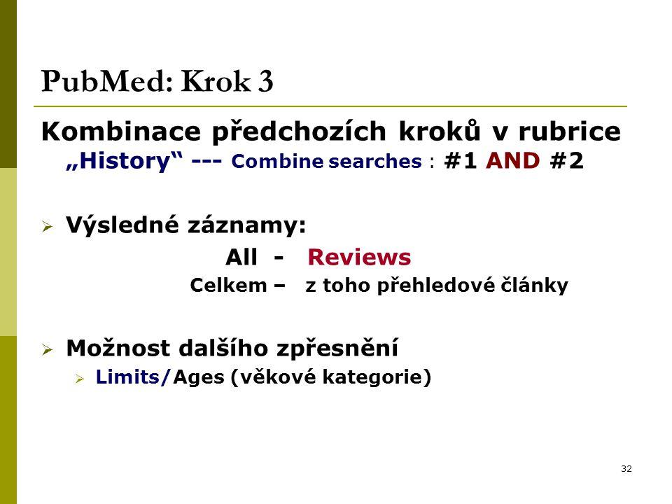 """32 PubMed: Krok 3 Kombinace předchozích kroků v rubrice """"History --- Combine searches : #1 AND #2  Výsledné záznamy: All - Reviews Celkem – z toho přehledové články  Možnost dalšího zpřesnění  Limits/Ages (věkové kategorie)"""