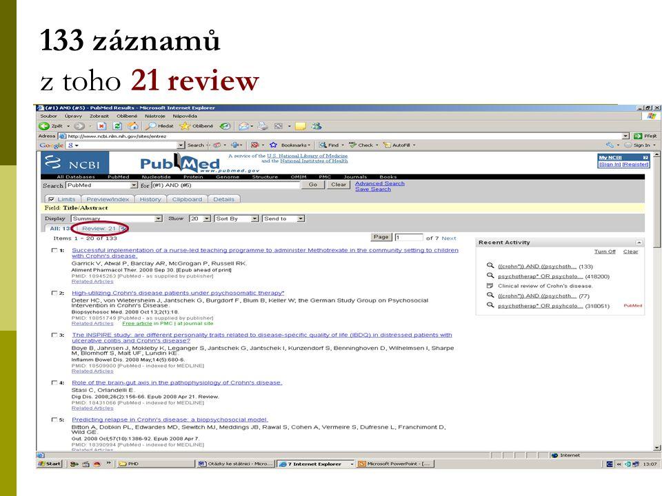 35 133 záznamů z toho 21 review