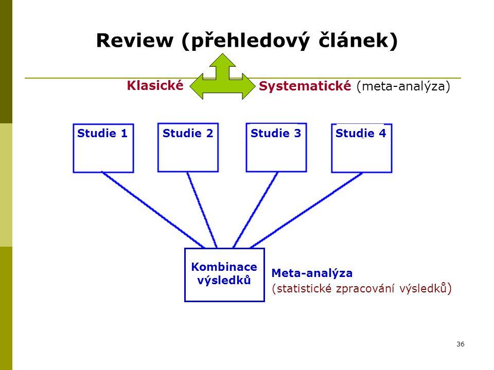 36 Review (přehledový článek) Studie 1Studie 2Studie 3Studie 4 Kombinace výsledků Meta-analýza (statistické zpracování výsledků ) Klasické Systematické (meta-analýza)