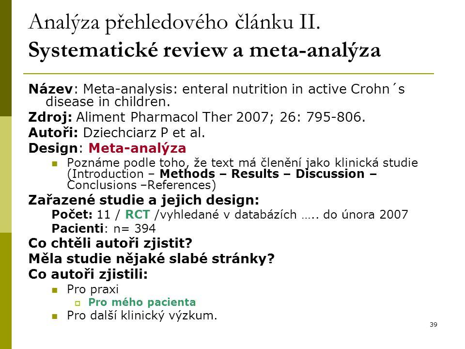 39 Analýza přehledového článku II.