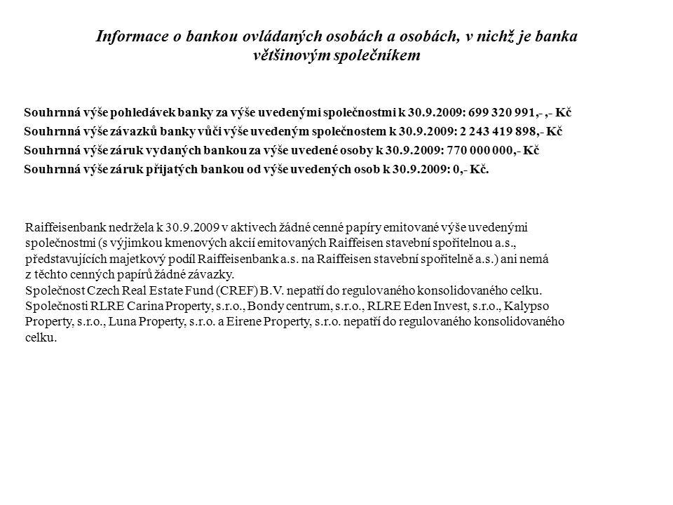 Raiffeisenbank nedržela k 30.9.2009 v aktivech žádné cenné papíry emitované výše uvedenými společnostmi (s výjimkou kmenových akcií emitovaných Raiffe