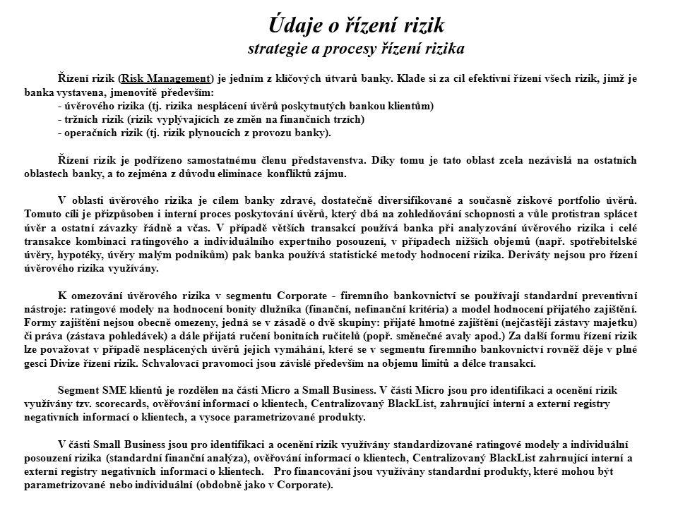 Údaje o řízení rizik strategie a procesy řízení rizika Řízení rizik (Risk Management) je jedním z klíčových útvarů banky. Klade si za cíl efektivní ří