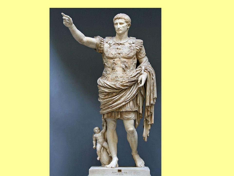 """Imperátor Caesar Augustus, Divi Filius Oktavianus ukončil mnohaletou občanskou válku (téměř 100 let) Zahájil éru dlouholetého míru - ""Pax Romana (vynucený vojenskou převahou) Zpočátku – výbojná politika – r.9 n.l."