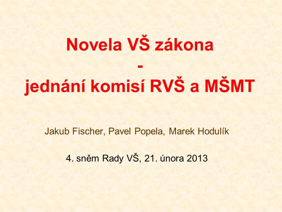 Novela VŠ zákona - jednání komisí RVŠ a MŠMT Jakub Fischer, Pavel Popela, Marek Hodulík 4. sněm Rady VŠ, 21. února 2013