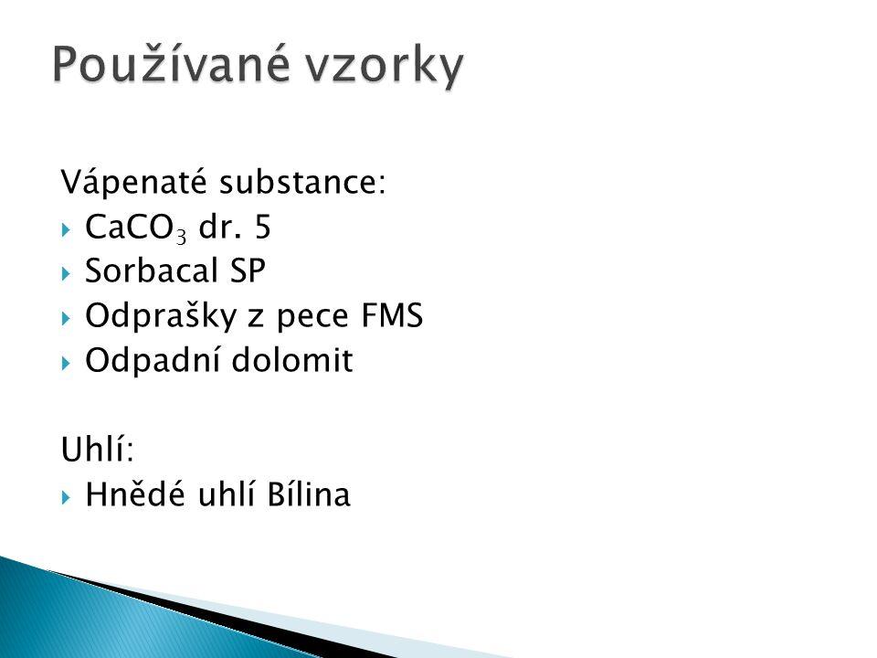 Vápenaté substance:  CaCO 3 dr. 5  Sorbacal SP  Odprašky z pece FMS  Odpadní dolomit Uhlí:  Hnědé uhlí Bílina