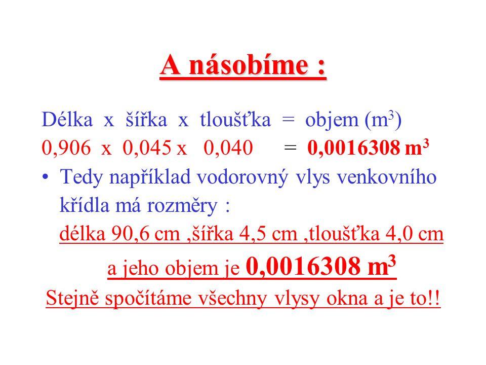 Pokračujeme : Převedeme všechna čísla z centimetrů na metry ( to proto,že objem masivního dřeva se počítá vždy na m 3 !) 90,6 cm=0,906 m 4,5 cm=0,045