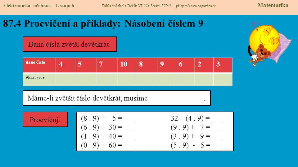 87.5 Procvičení a příklady: Dělení číslem 9 Elektronická učebnice - I.