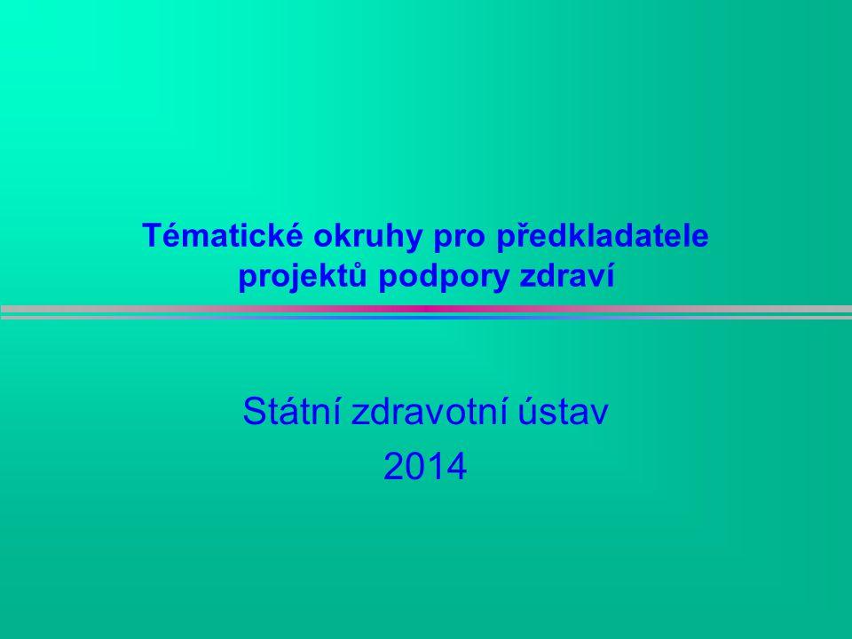 Tématické okruhy pro předkladatele projektů podpory zdraví Státní zdravotní ústav 2014