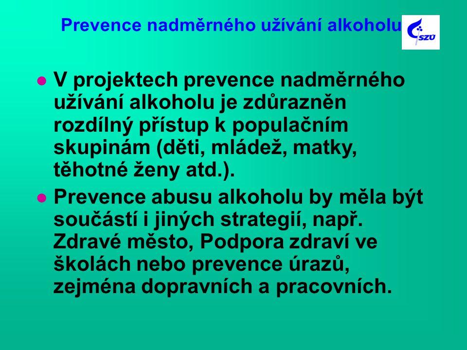 Prevence nadměrného užívání alkoholu l V projektech prevence nadměrného užívání alkoholu je zdůrazněn rozdílný přístup k populačním skupinám (děti, mládež, matky, těhotné ženy atd.).