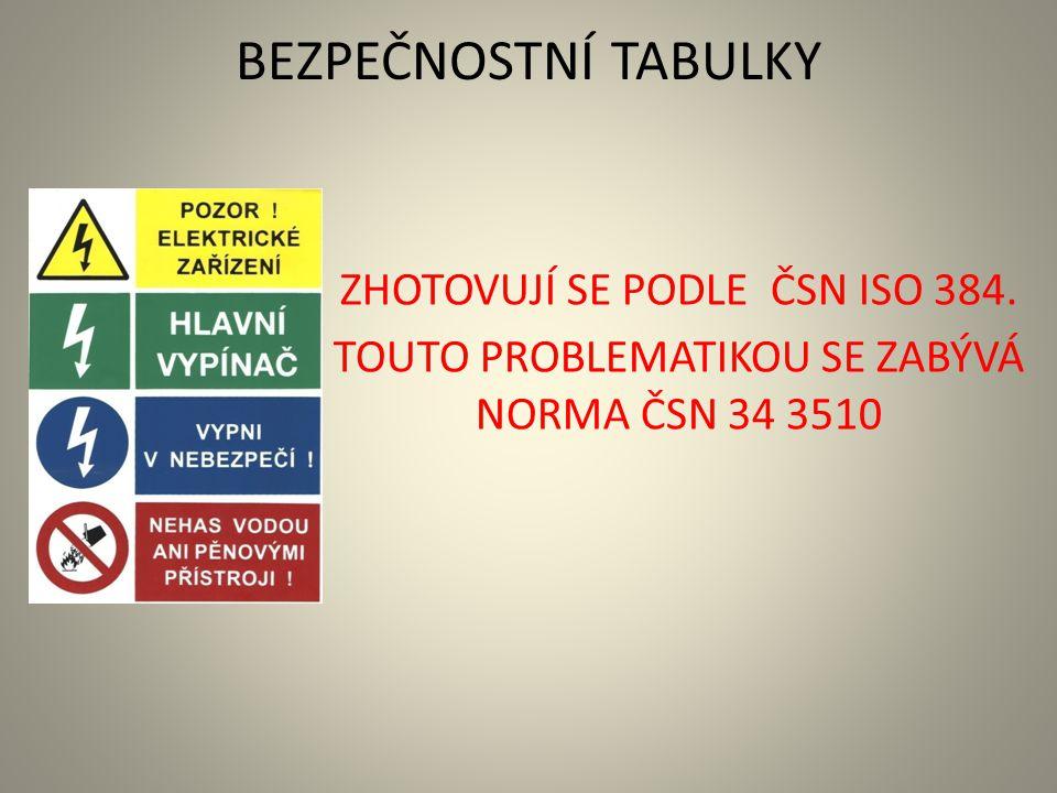 BEZPEČNOSTNÍ TABULKY ZHOTOVUJÍ SE PODLE ČSN ISO 384. TOUTO PROBLEMATIKOU SE ZABÝVÁ NORMA ČSN 34 3510