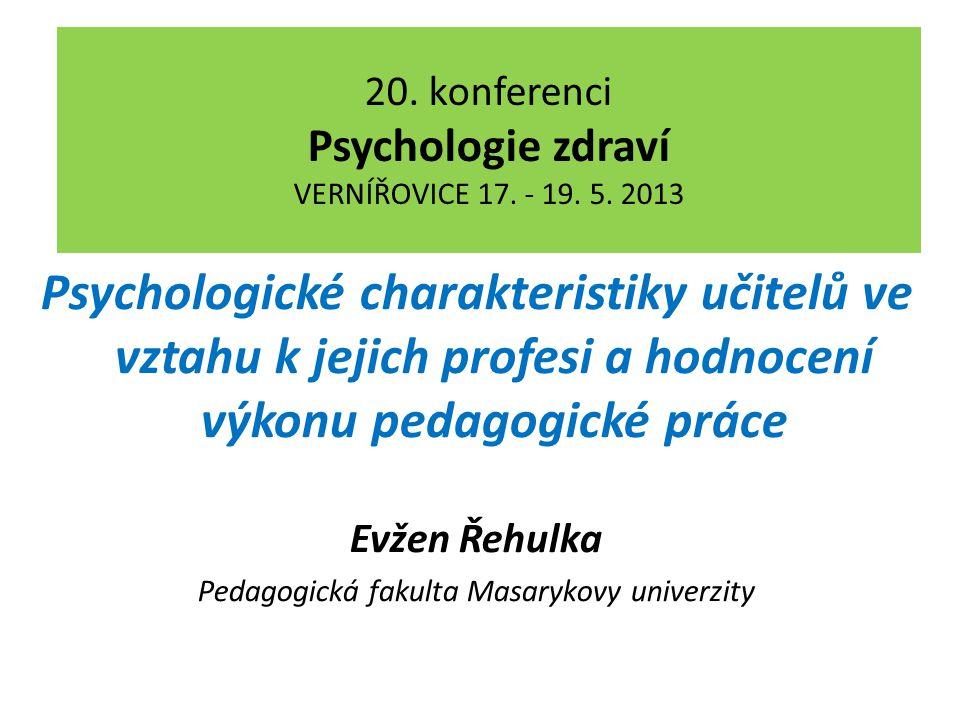 20. konferenci Psychologie zdraví VERNÍŘOVICE 17.