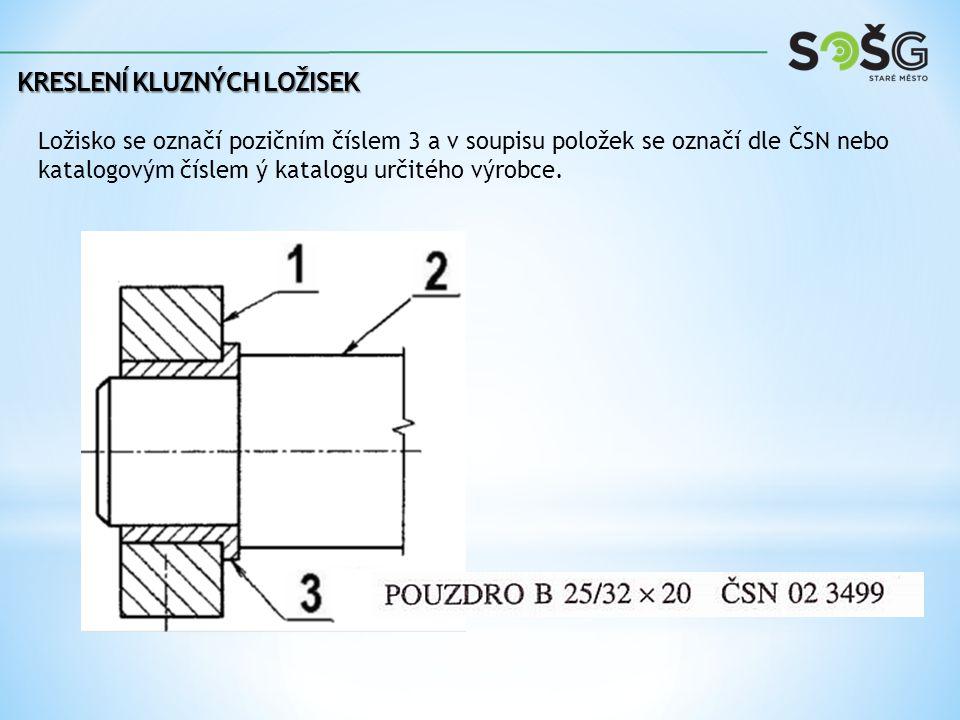 KRESLENÍ KLUZNÝCH LOŽISEK Ložisko se označí pozičním číslem 3 a v soupisu položek se označí dle ČSN nebo katalogovým číslem ý katalogu určitého výrobc