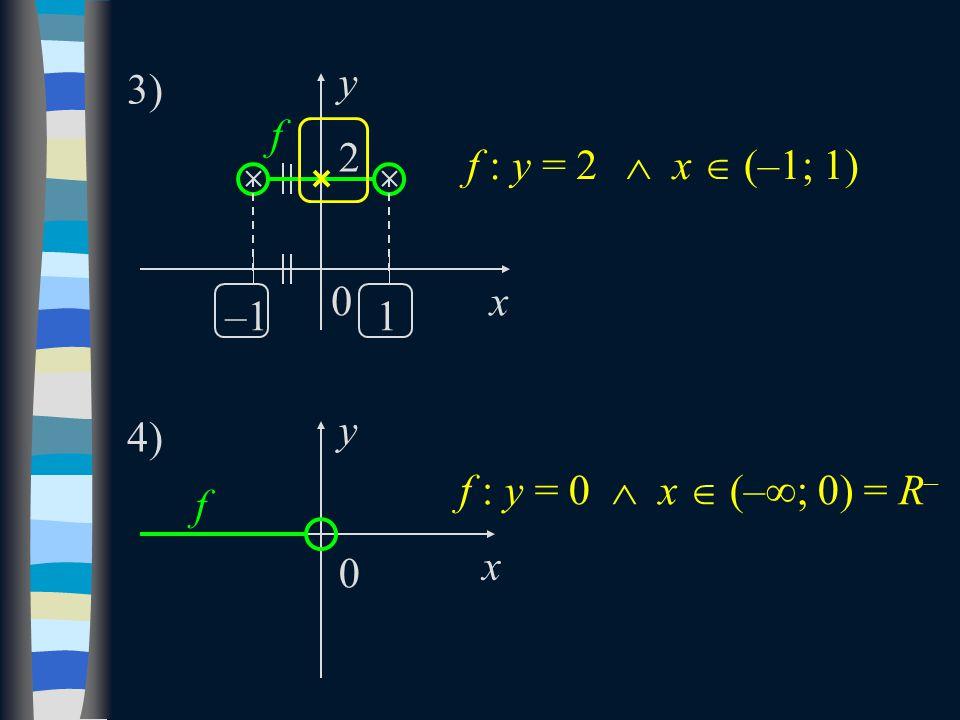 x y 2 f 3) 1–1 f : y = 0  x  (–  ; 0) = R – f : y = 2  x  (–1; 1) x y 0 f 4) 0