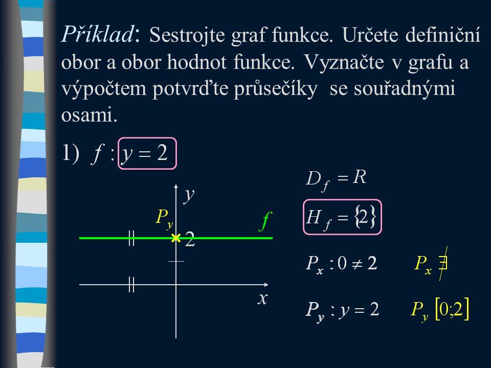 Příklad : Sestrojte graf funkce. Určete definiční obor a obor hodnot funkce.