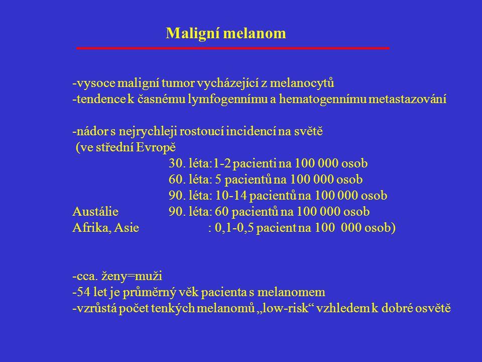 -vysoce maligní tumor vycházející z melanocytů -tendence k časnému lymfogennímu a hematogennímu metastazování -nádor s nejrychleji rostoucí incidencí